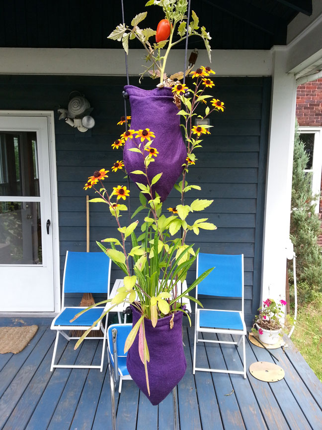 Outdoor garden in Columbus Ohio of Cascading Gardens hanging on cord by Ken Rinaldo
