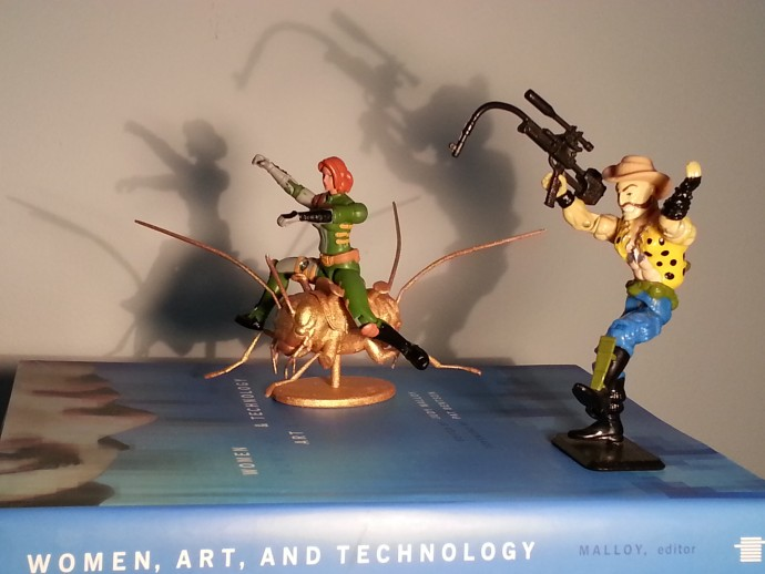 Amy Riding the Golden Cricket by Ken Rinaldo, 3D rapid prototype, figures and book.