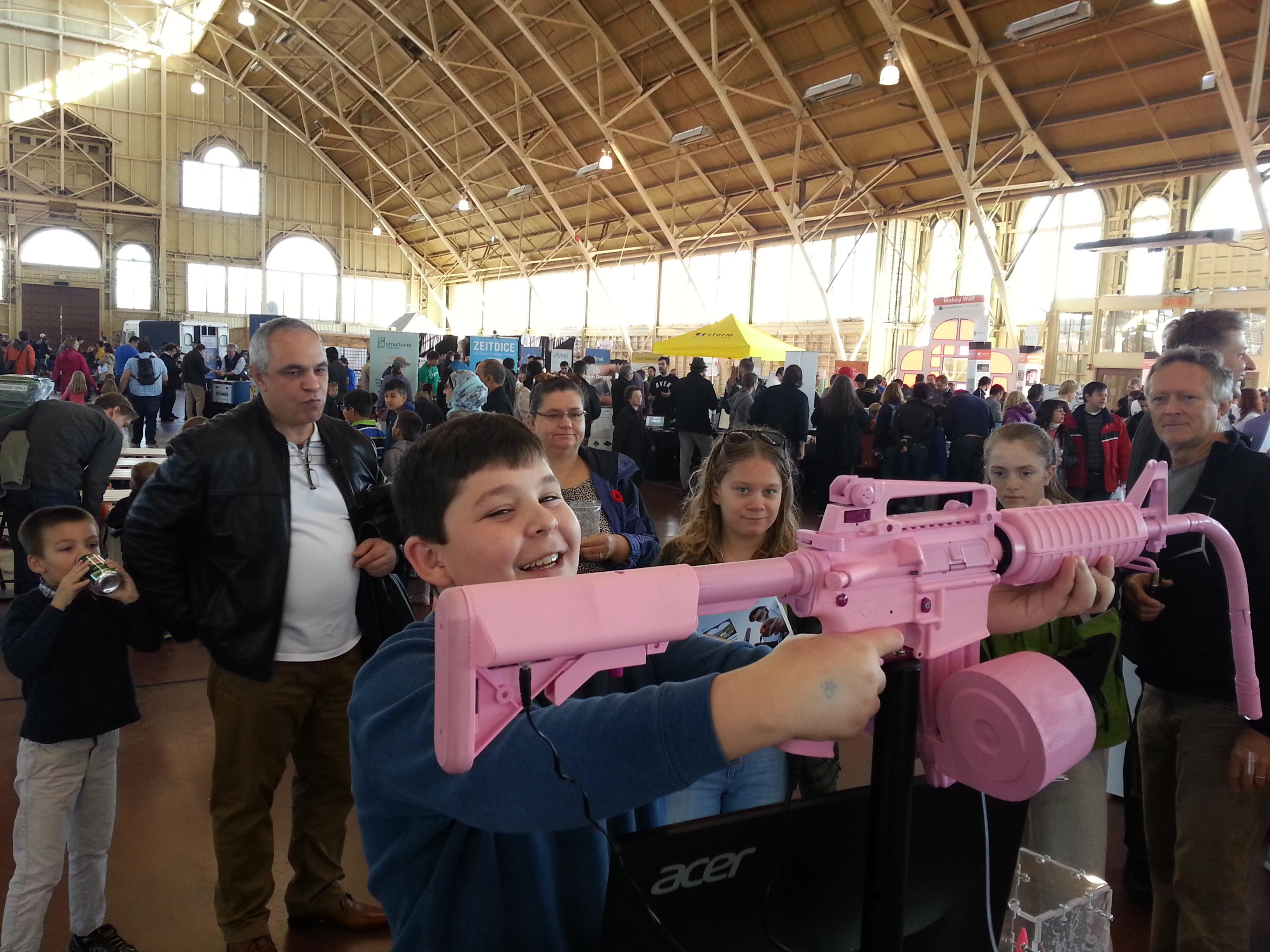 The Woman's Tears Machine Gun bullet holding Woman's tears pink gun