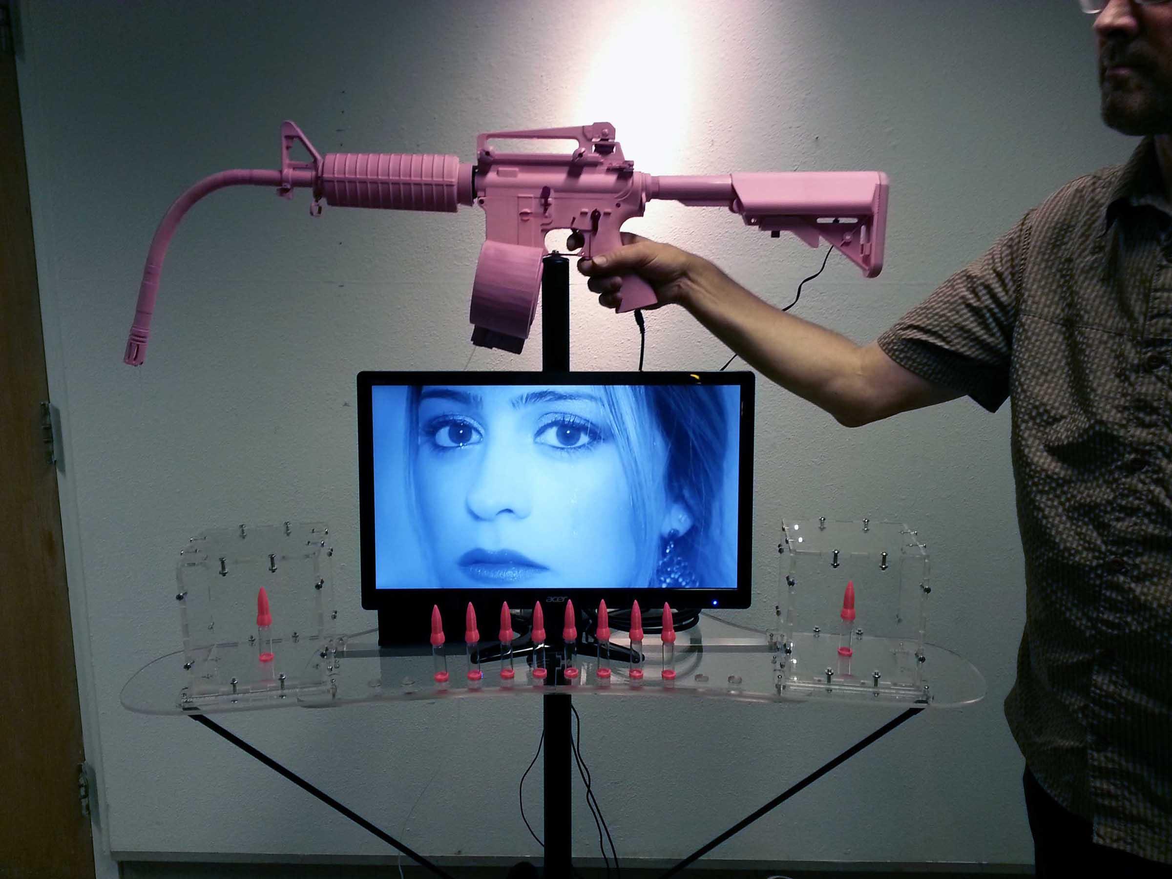 The Womans Tears Machine Gun by Ken Rinaldo pink gun