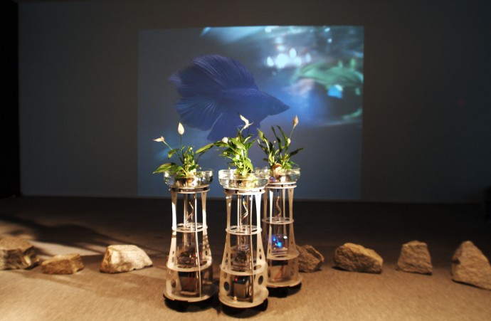 OK CENTRUM FOR CONTEMPORARY ART, ARS ELECTRONICA Linz, Austria. Nov. 17 2004 CyberArts 2004 juried exhibition. Award of Distinction in the Interactive Arts Category. Displayed 3 robots of Augmented Fish Reality by Ken Rinaldo. Robotic Fish Tank